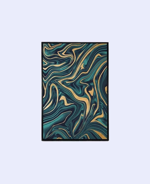 Tableau abstrait moderne couleur bleu et or cadre noir vue de face