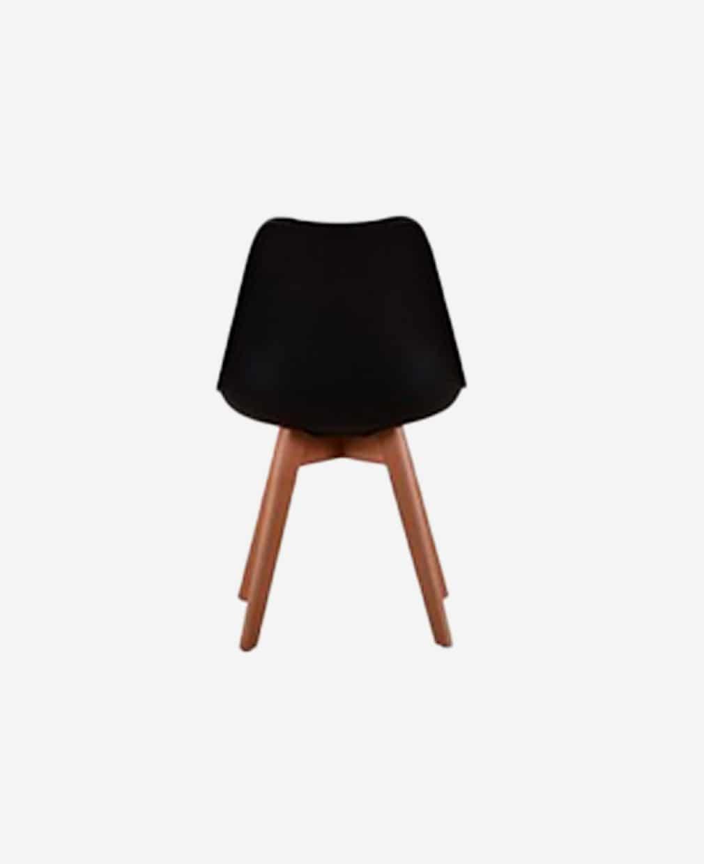 Chaise scandinave grise piétement bois vu de dos