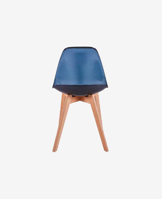 Chaise scandinave transparent noir vu de dos