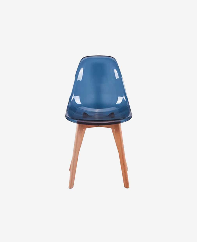 Chaise scandinave transparent noir vu de face