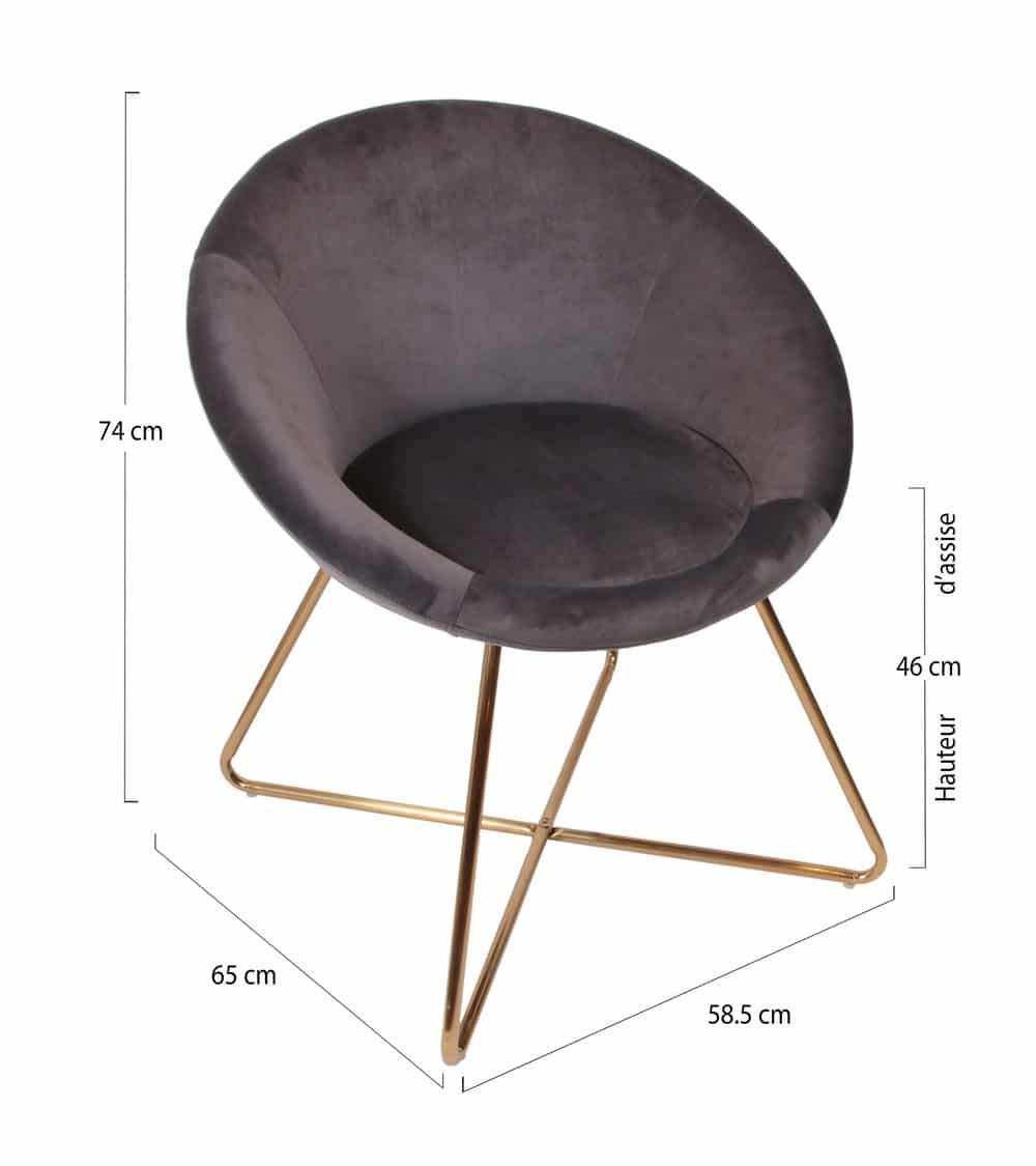 Chaise chic tissus pied doré dimension