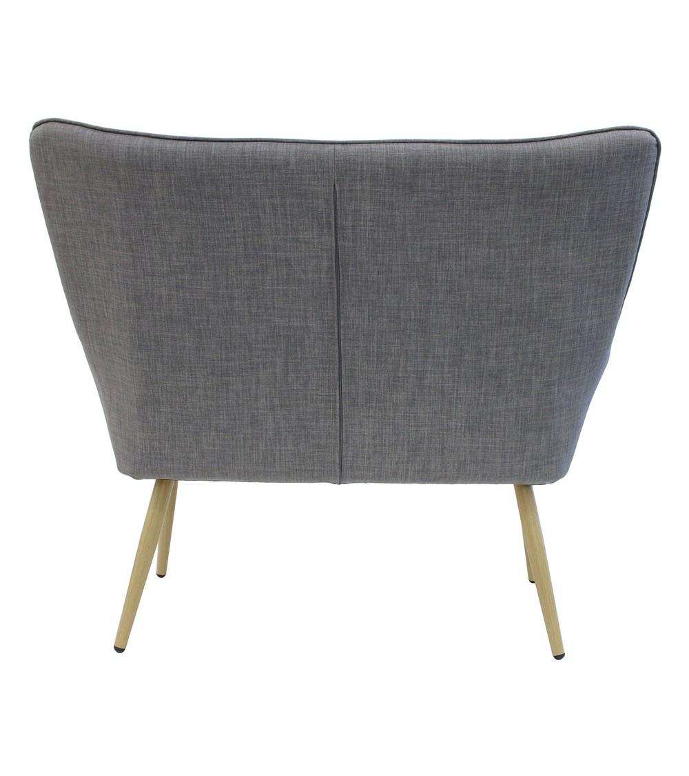 canapé deux places scandinave gris vue de dos