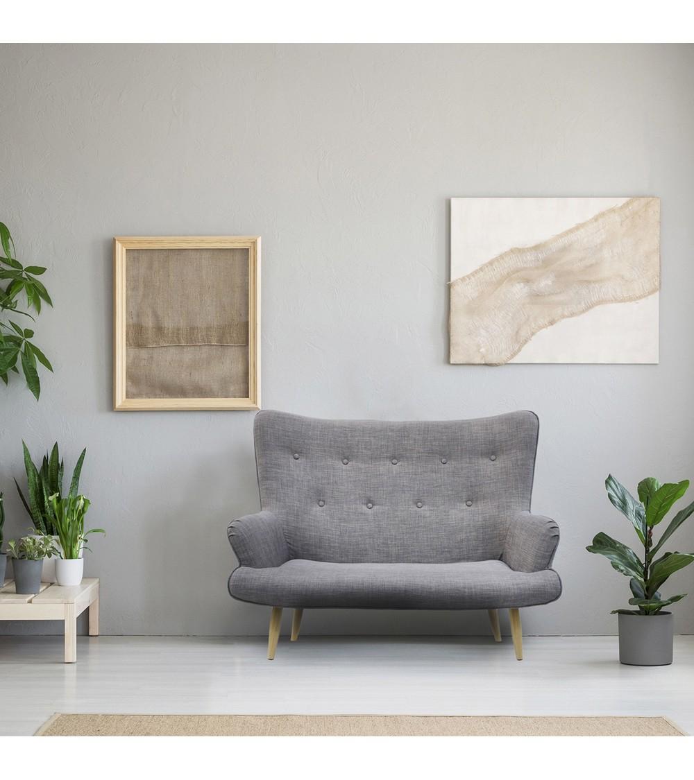 canapé deux places scandinave gris vue de salon