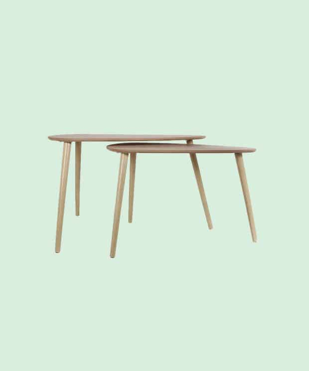 Table basse scandinave triangle bois face