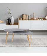 Table basse scandinave triangle grise salon