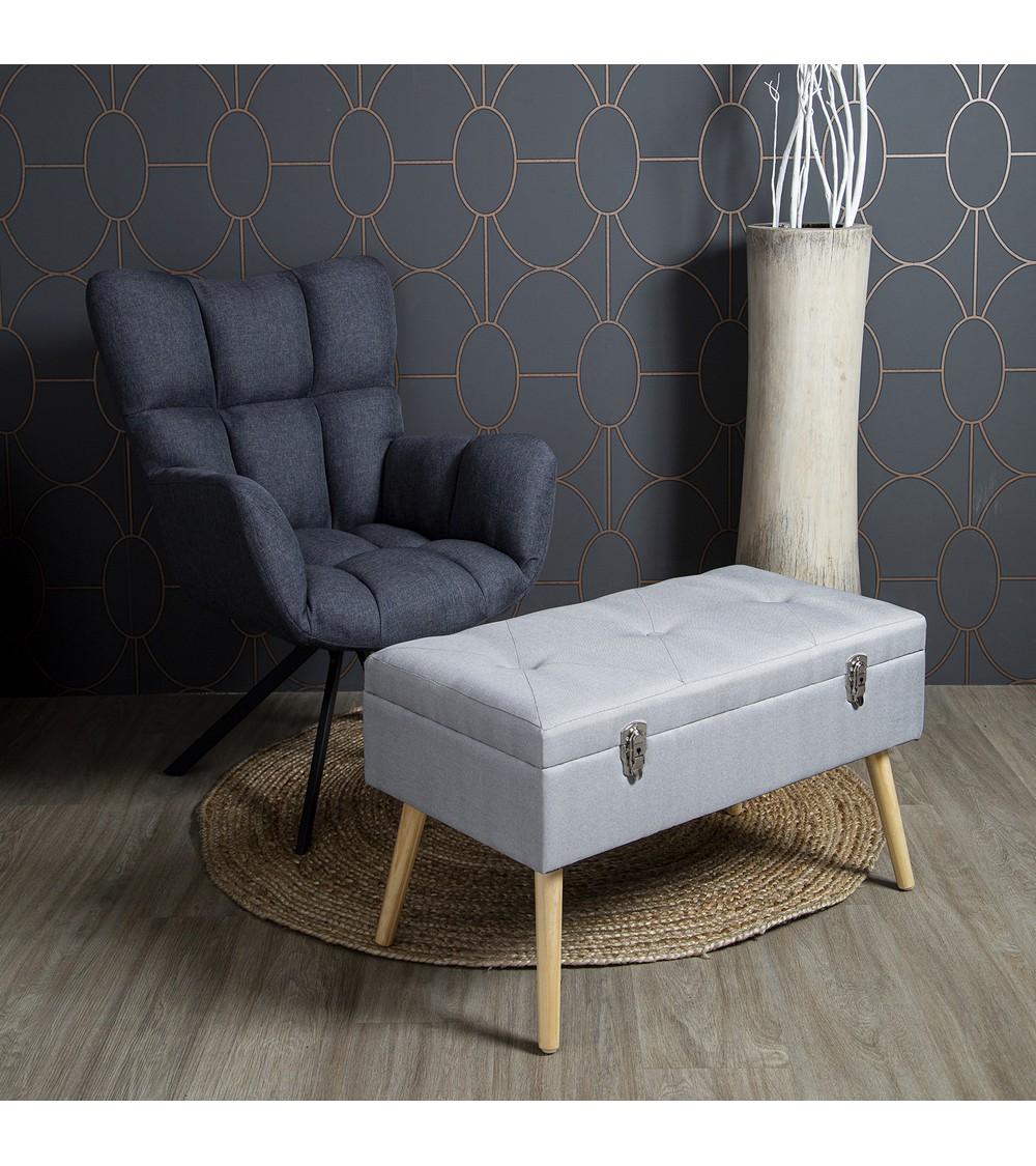 banc de rangement gris salon