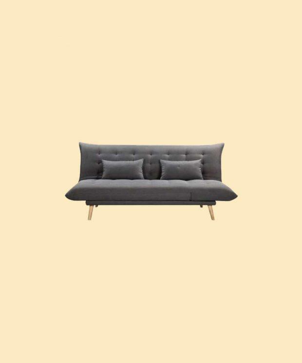 Canapé scandinave gris pied bois vue de face