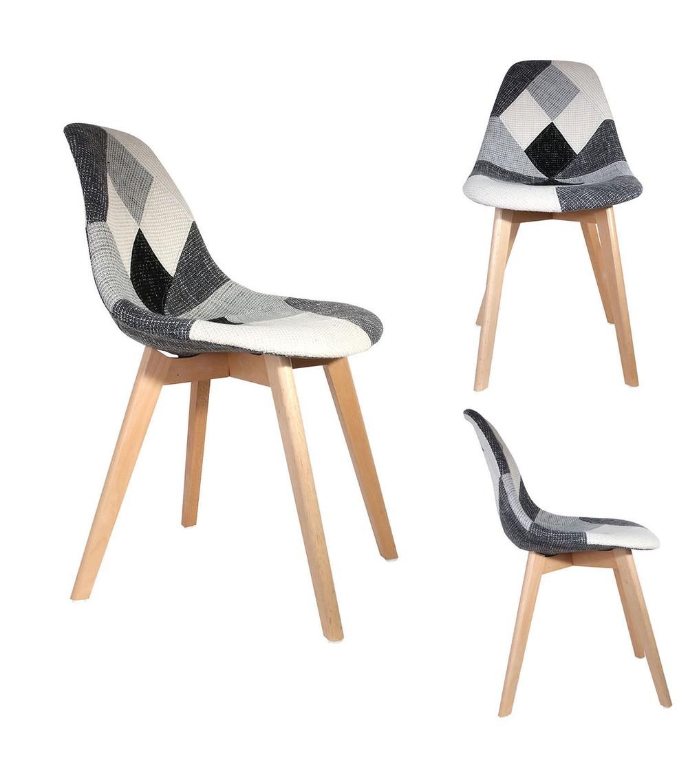 trois chaise scandinave patchowork grise de coté et vue de face
