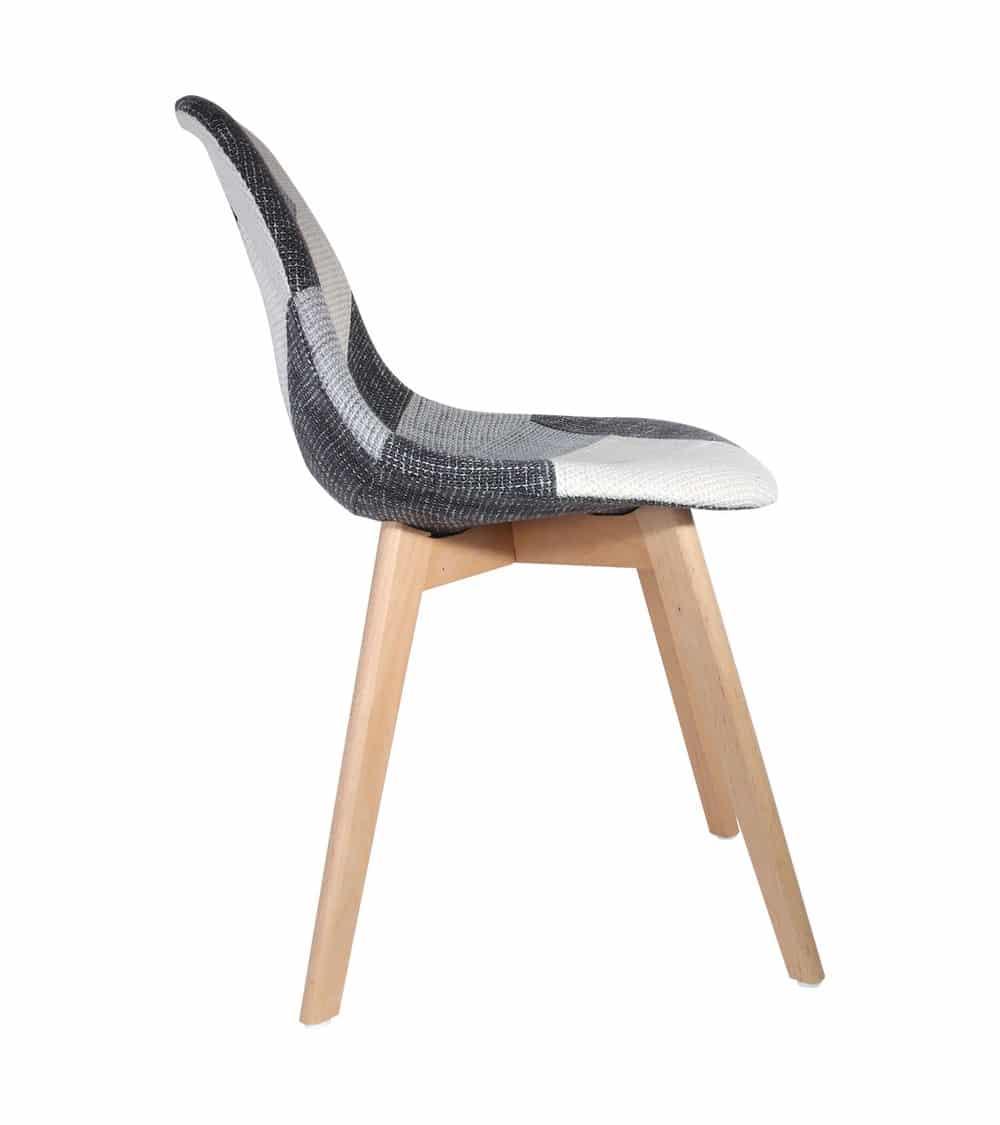 chaise scandinave patchowork grise vue de coté