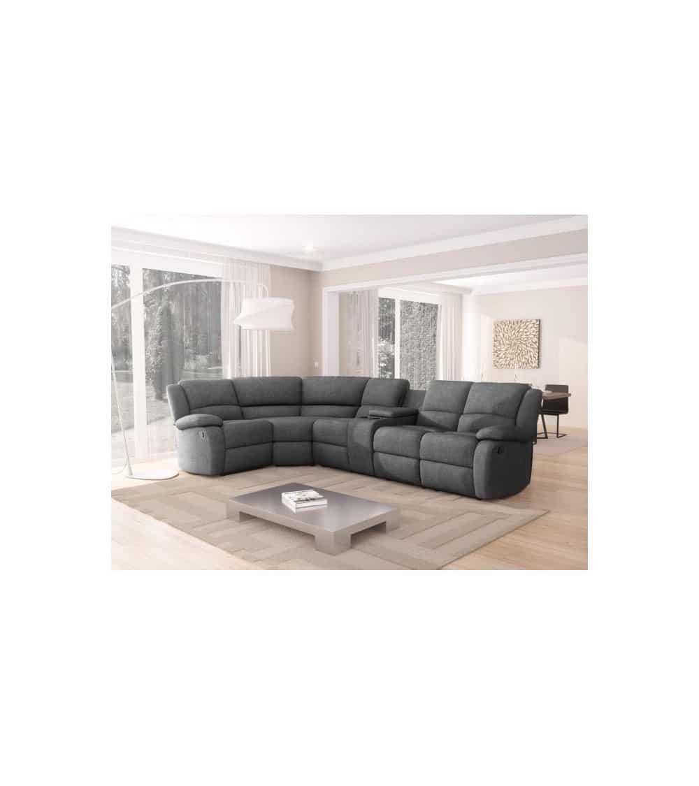 Canapé d'angle 5 plages gris foncé vue dabs un salon moderne