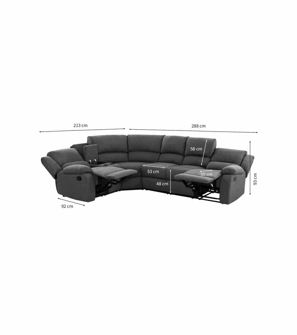 Canapé d'angle 5 plages gris foncé avec dimensions