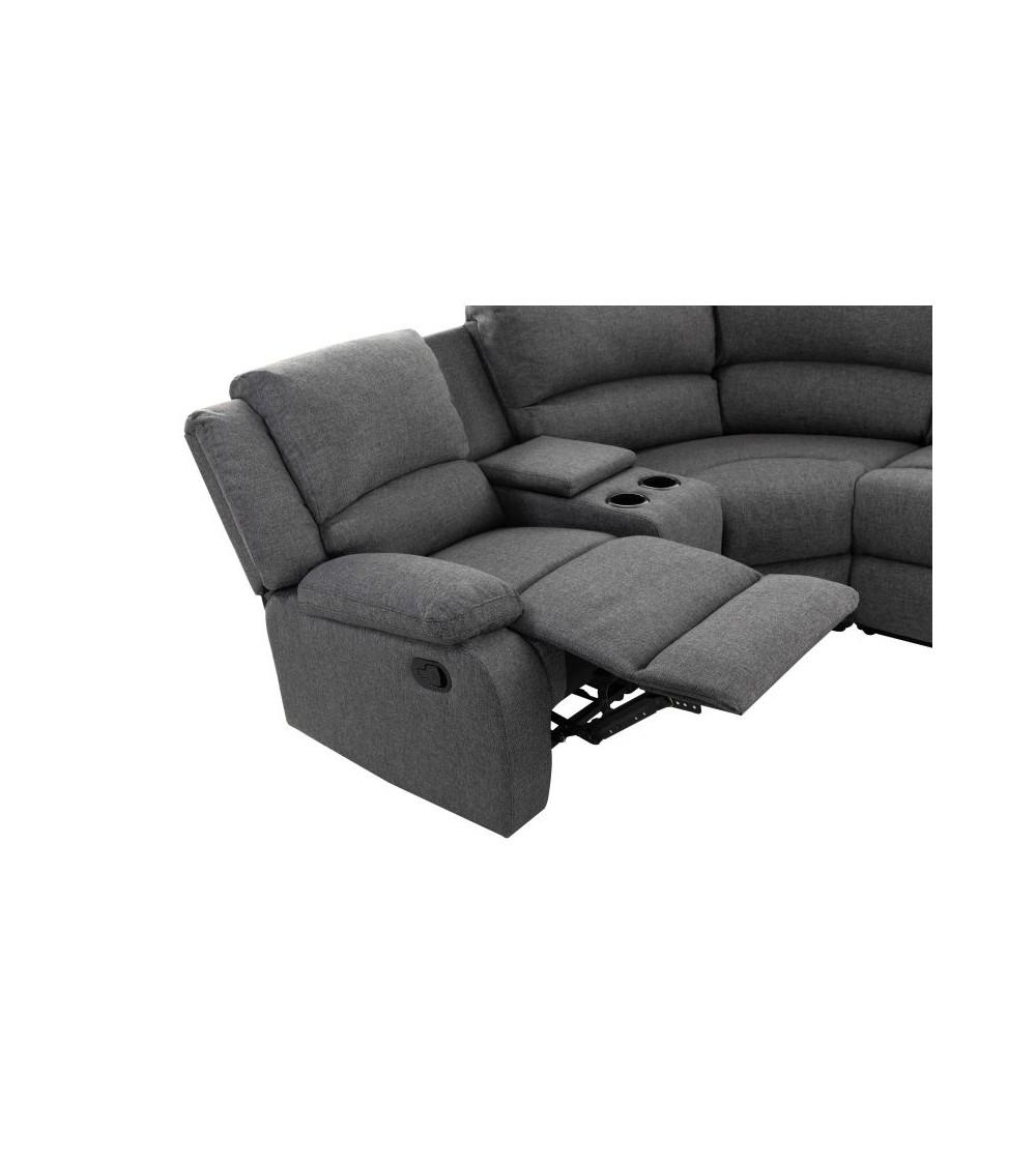 Canapé d'angle 5 plages gris foncé vue de coté assise et porte gobelet