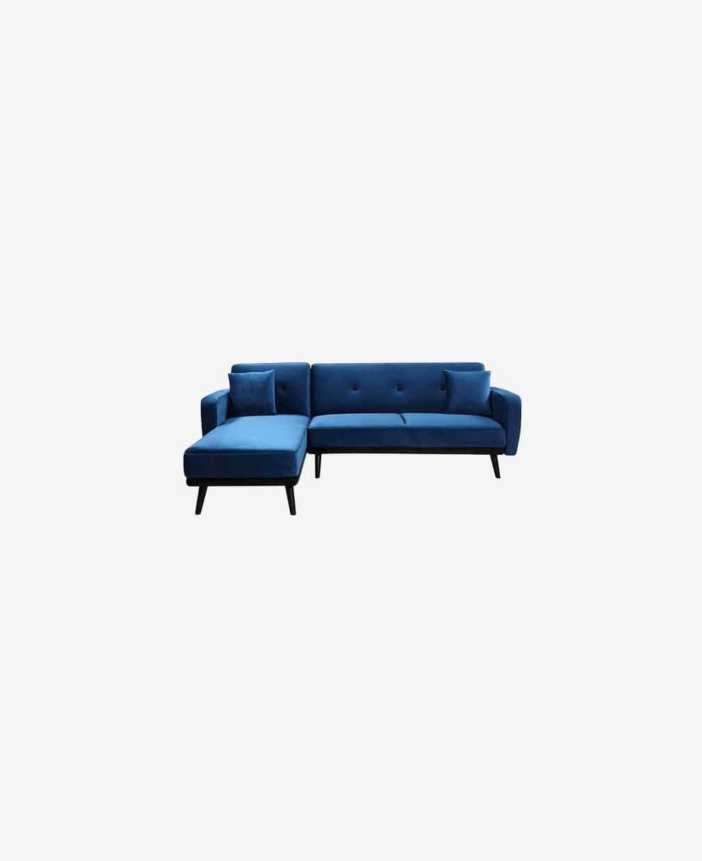 Milty canapé d'angle en velour bleu