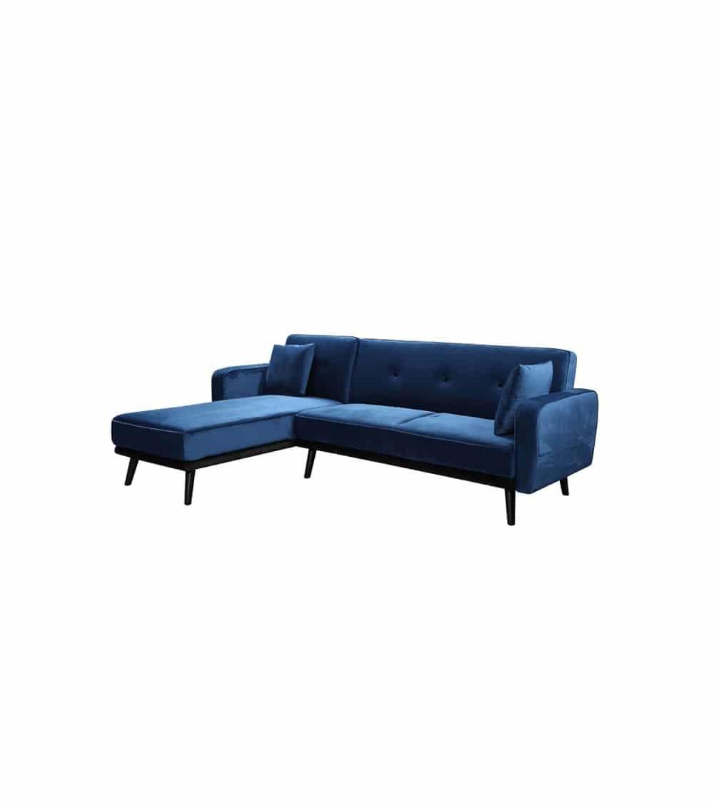 Milty canapé d'angle en velour bleu de côté