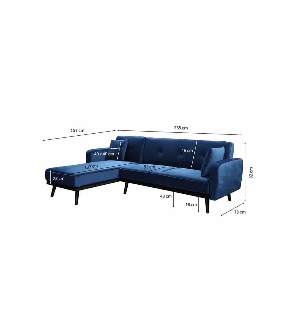 Milty canapé d'angle en velour bleu dimensions