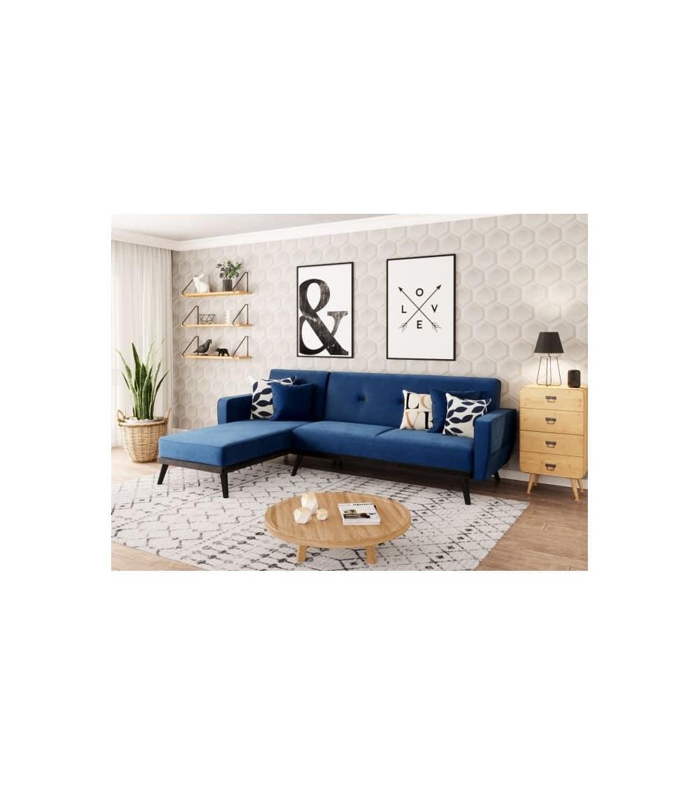 Milty canapé d'angle en velour bleu dans un salon