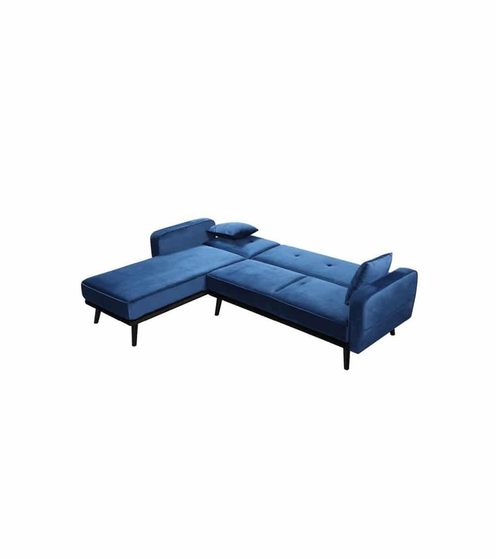 Milty canapé d'angle en velour bleu en agencement banquette