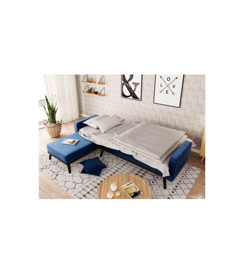 Milty canapé d'angle en velour bleu dans un salon en lit