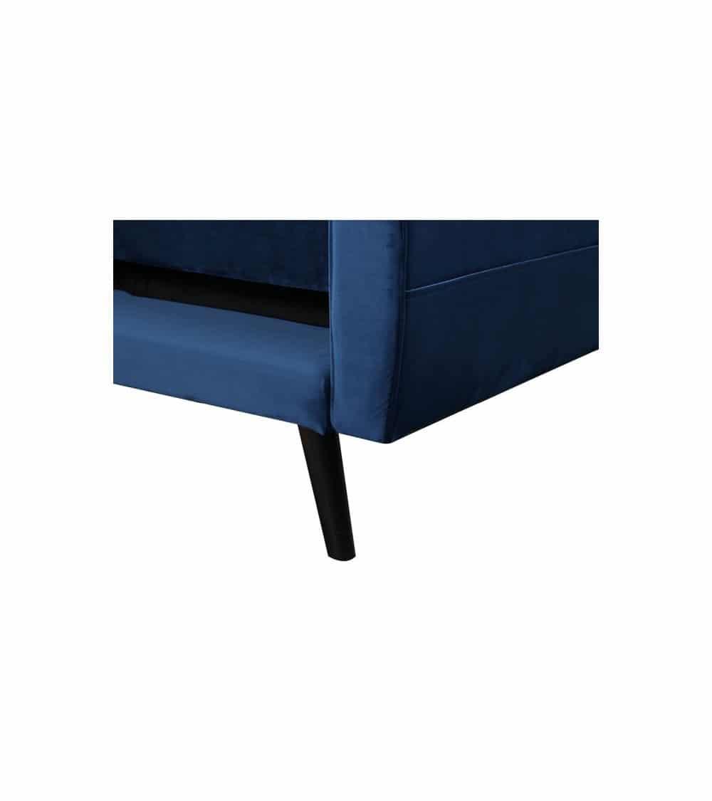 Milty canapé d'angle en velour bleu pieds