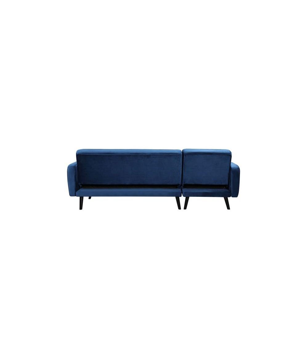 Milty canapé d'angle en velour bleu de dos