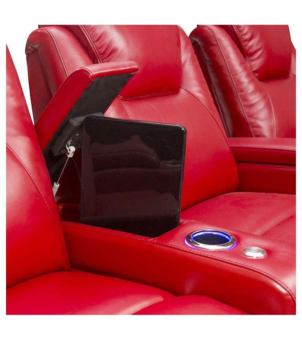 Fauteuil de cinéma en cuir rouge tablette