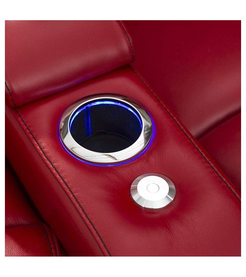 Fauteuil de cinéma en cuir rouge porte gobelet