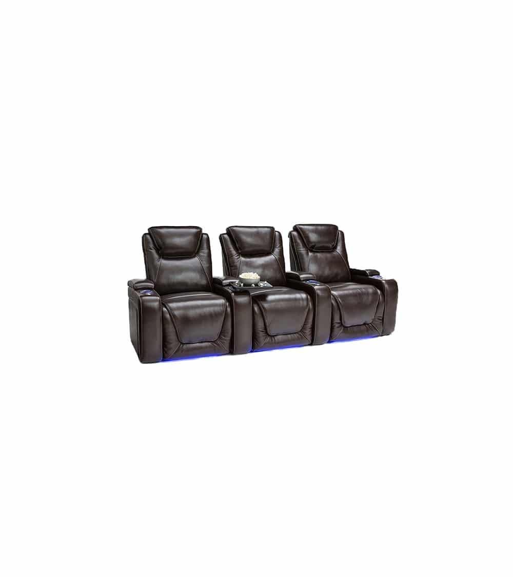 3 Fauteuils de cinéma en cuir noir