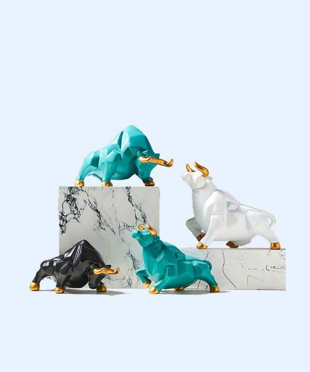 Sculpture légendaire Abstraite Taureau bleu - blanc - noir