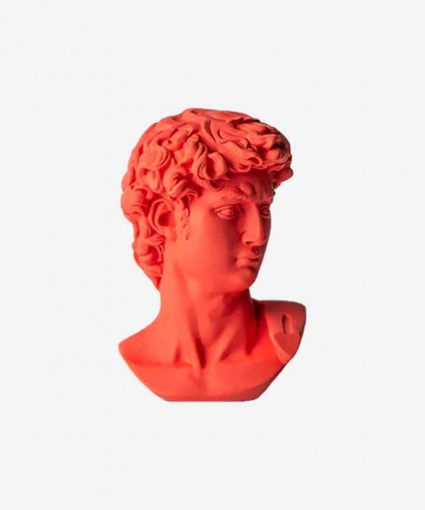 Statuette grec coloré rouge