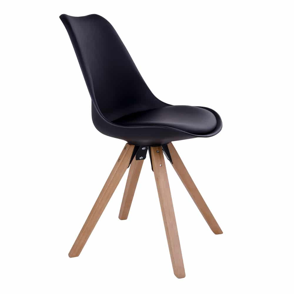 Chaise scandinave noir pieds bois