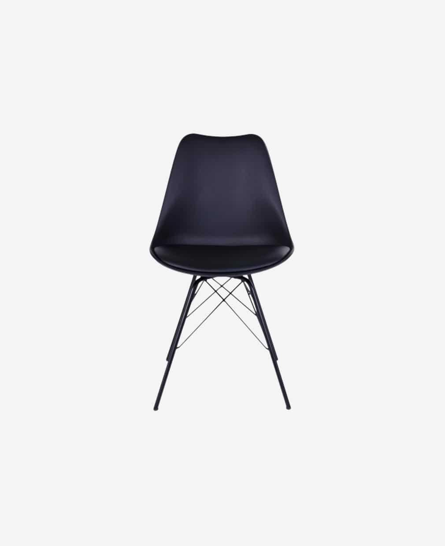 Chaise nordique noir pieds en métal
