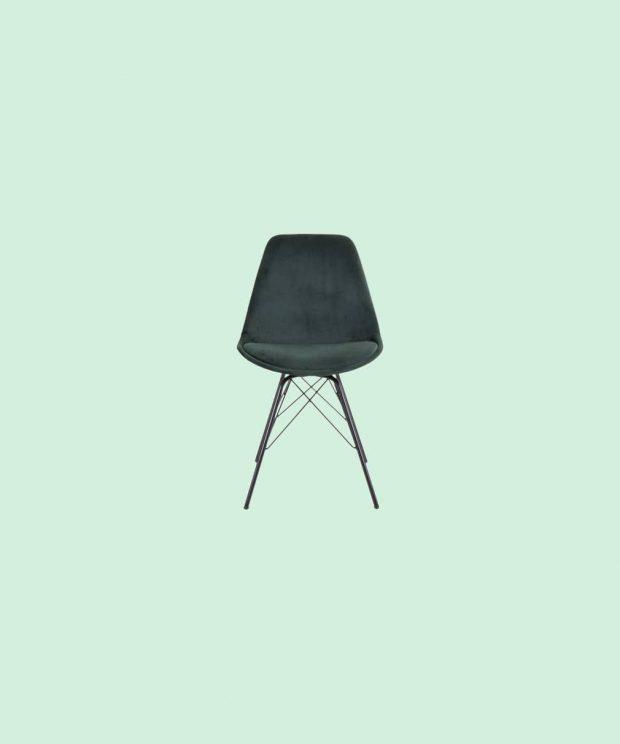 Chaise velours verte nordique
