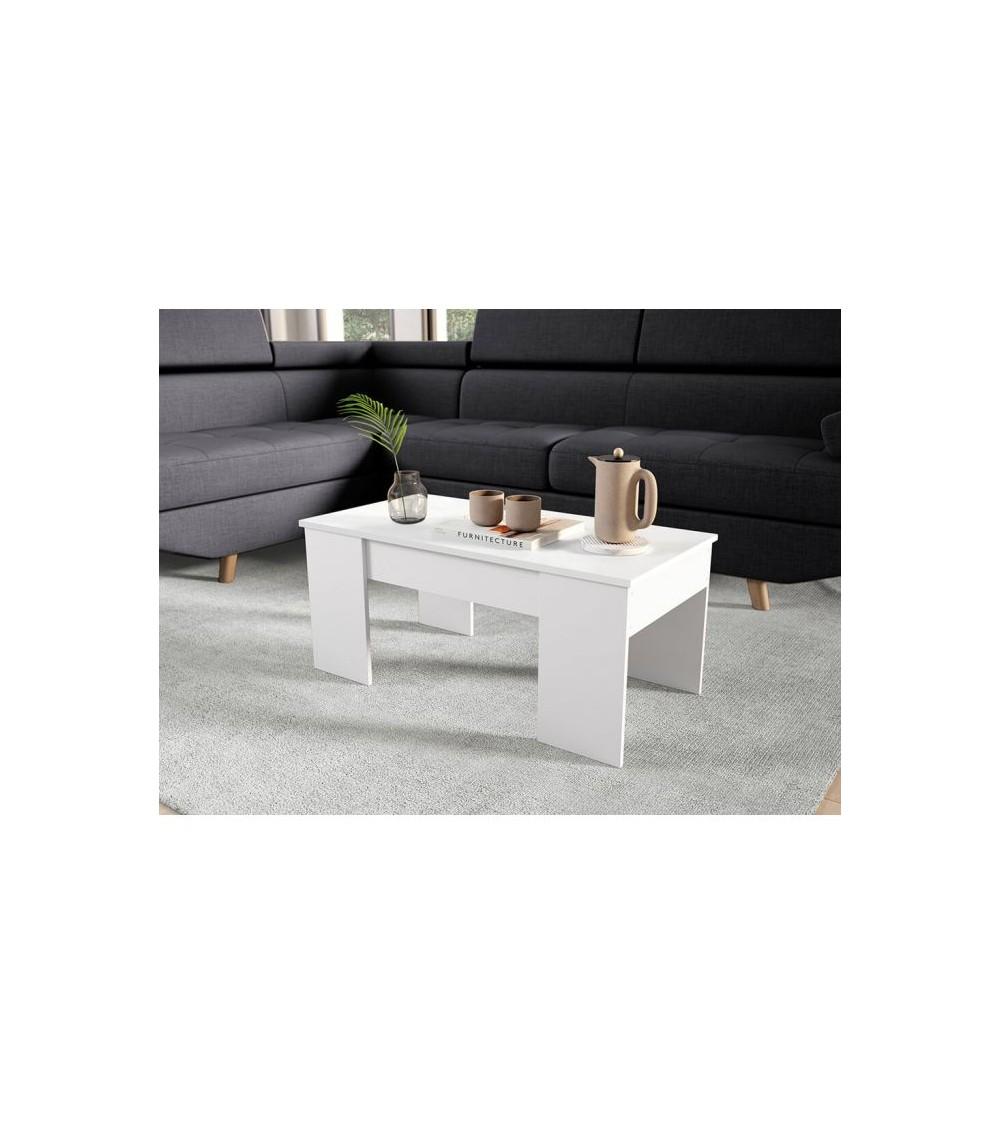 Table basse scandinave vue de côté dans un salon