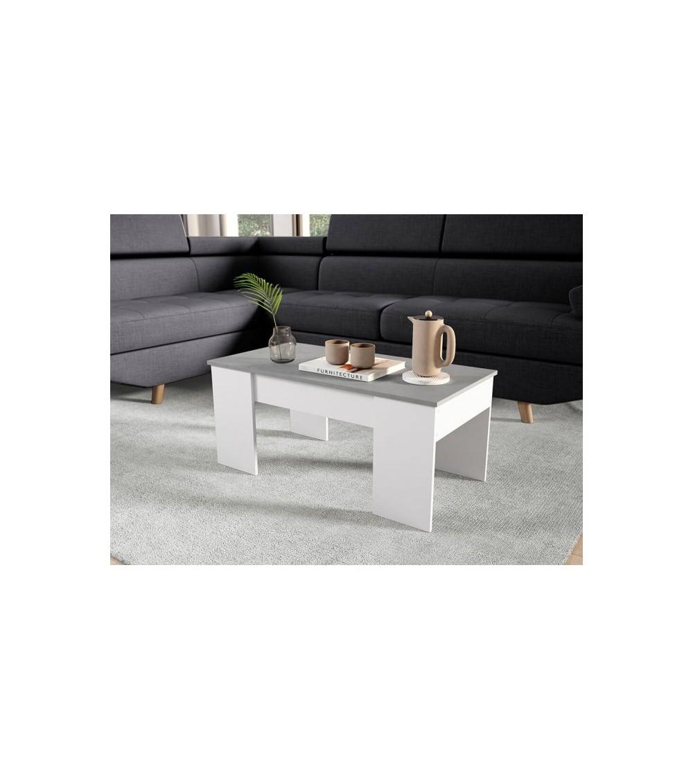 Table basse scandinave gris vue de côté dans un salon