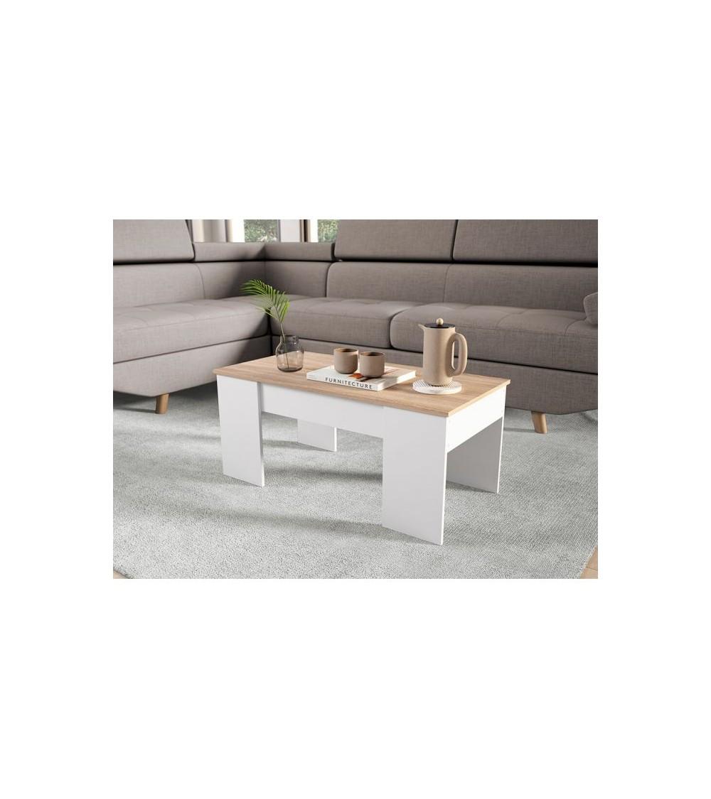 Table basse scandinave marron vue de côté dans un salon
