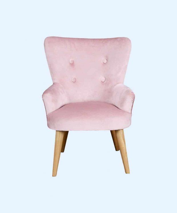 fauteuil scandinave rose face