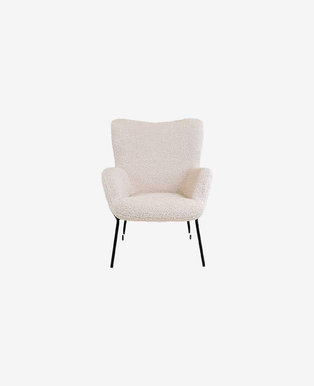Chaise accoudoirs tissus blanc
