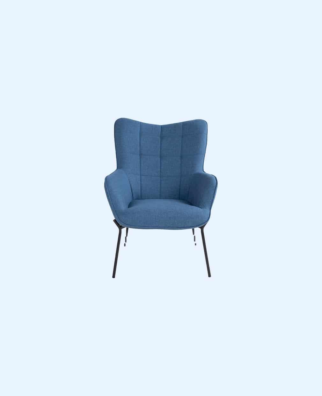 fauteuil velours bleu
