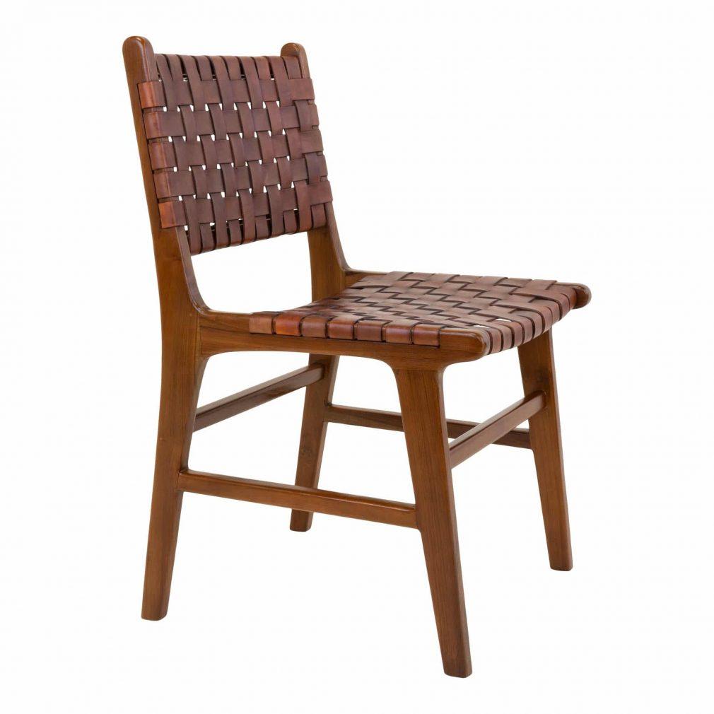 Chaise en bois et lanières cuir