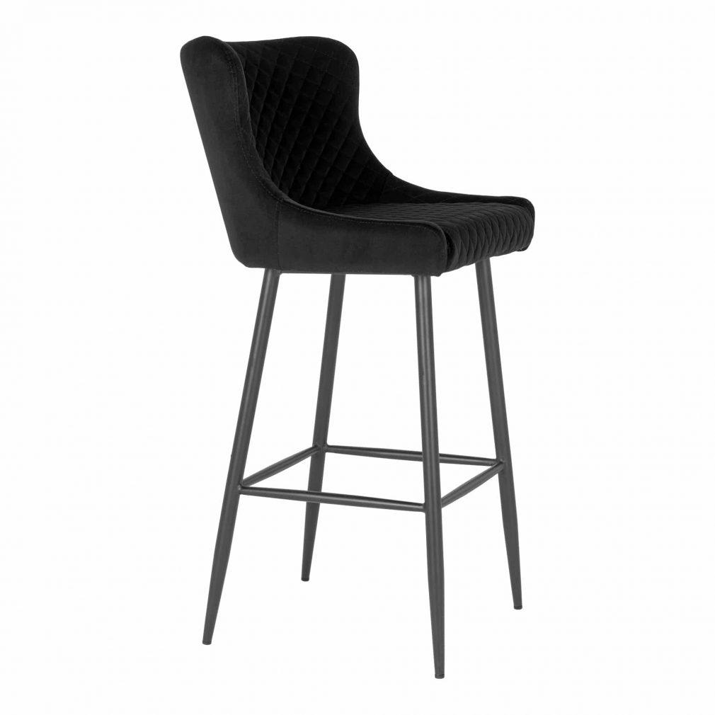 Chaise haute en cuir noir