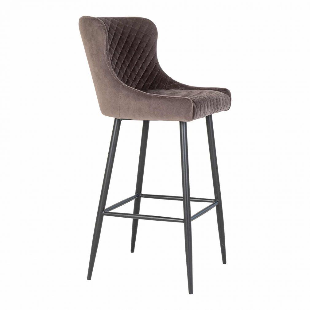 Chaise haute matelassé gris foncé