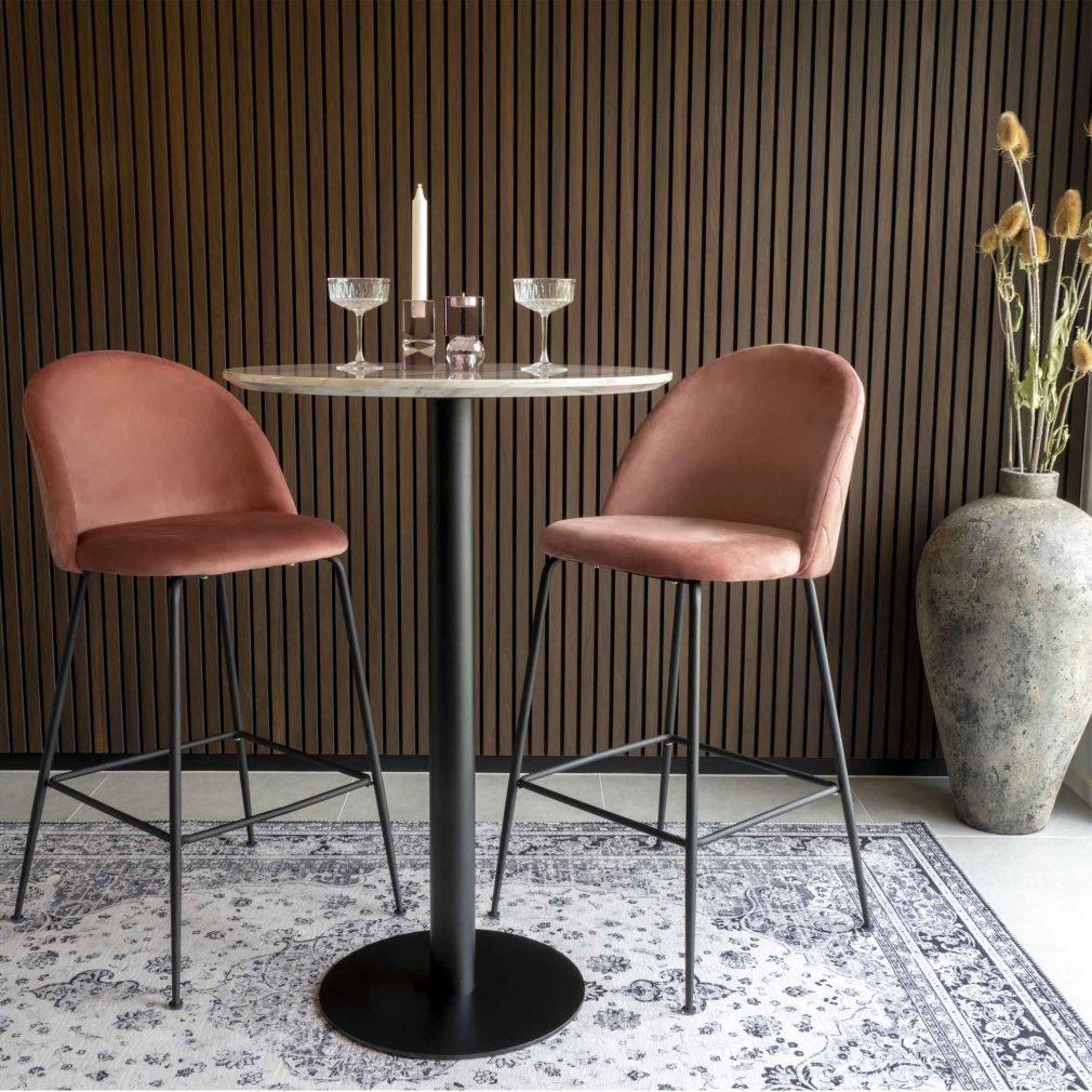 Chaise en velour rose