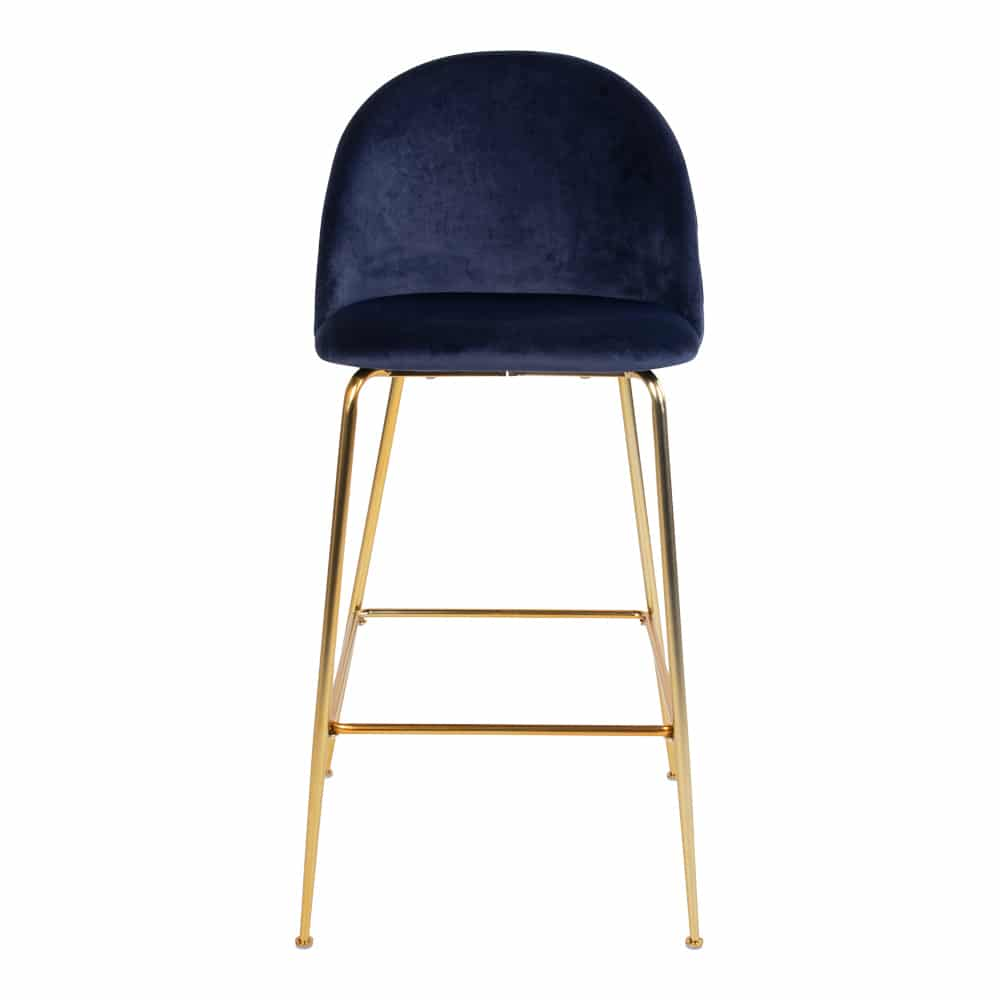 Chaise velour bleu nuit pieds or