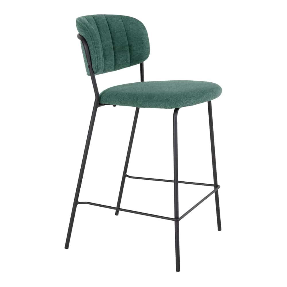 Chaise de bar velour verte