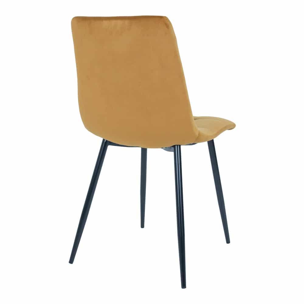 Chaise en velour orange moutarde