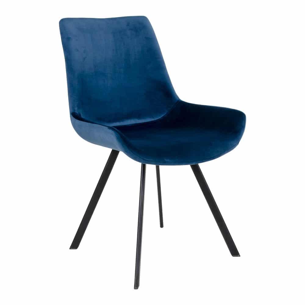 Chaise velours bleu marin