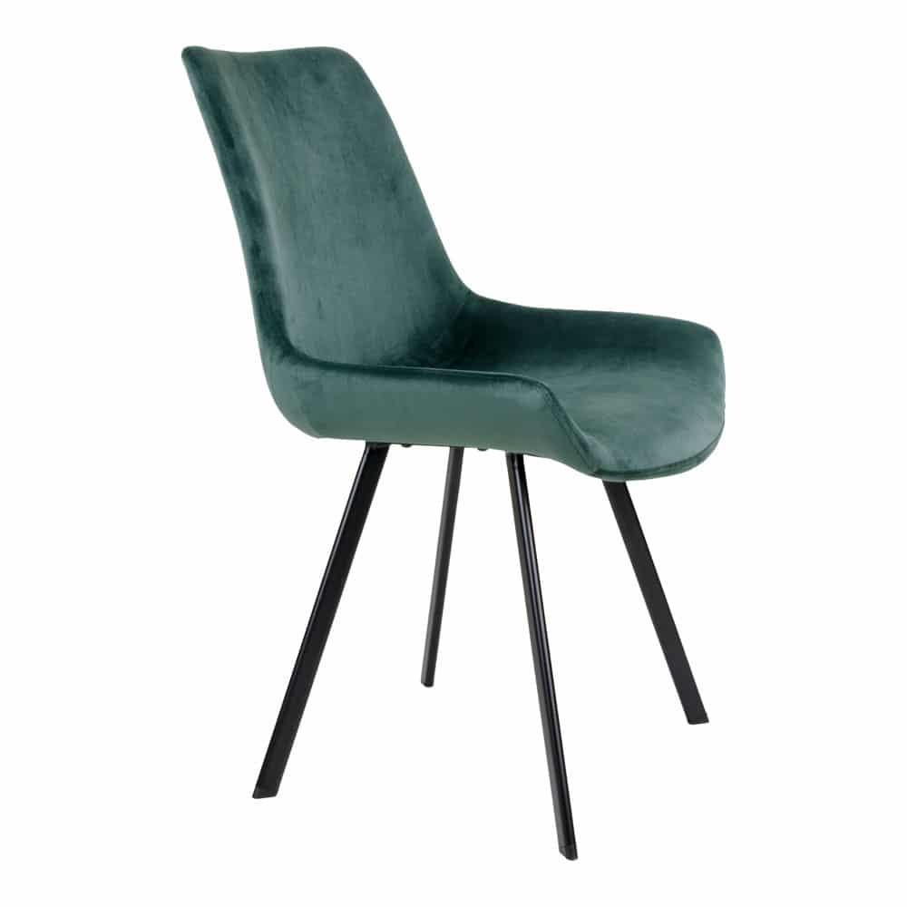 Chaise velours vert nuit