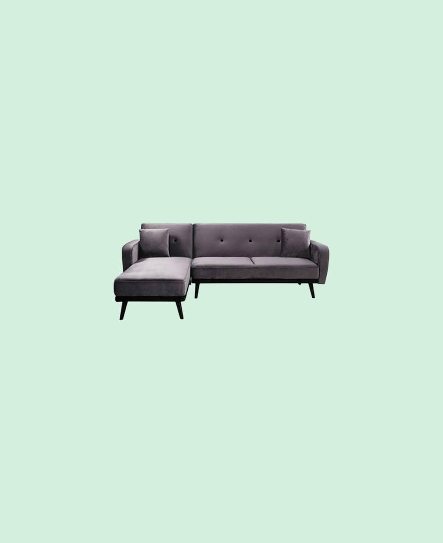 Canapé scandinave velours gris