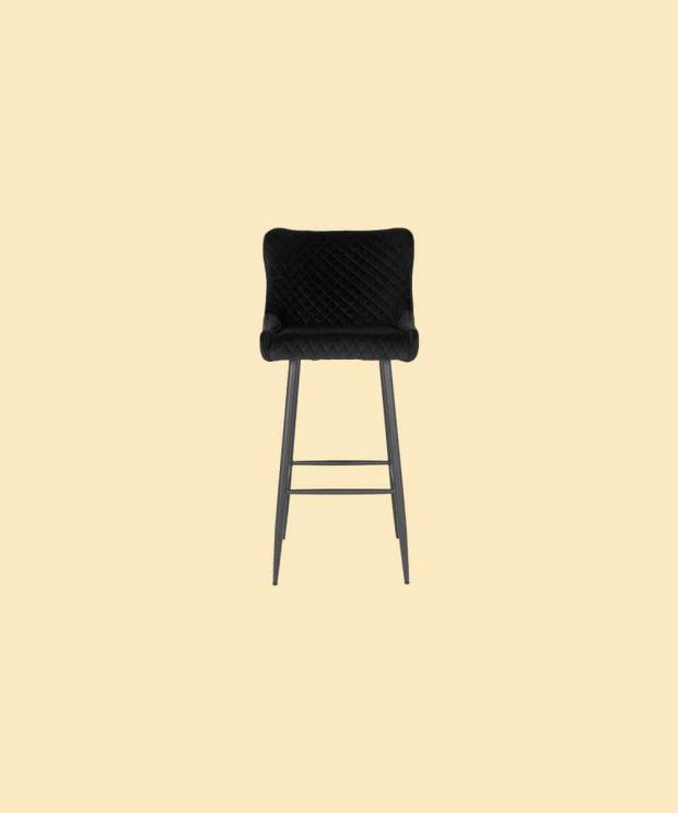 Chaise haute en velours noir