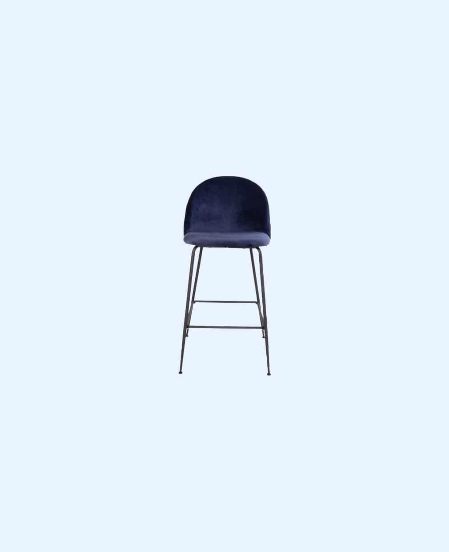 Chaise Haute Velour bleu